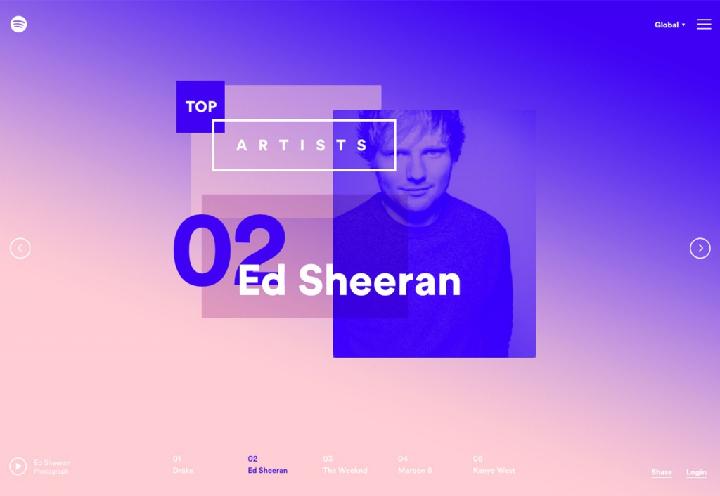 Duotone Color Schemes - Web Design Trends - Spotify